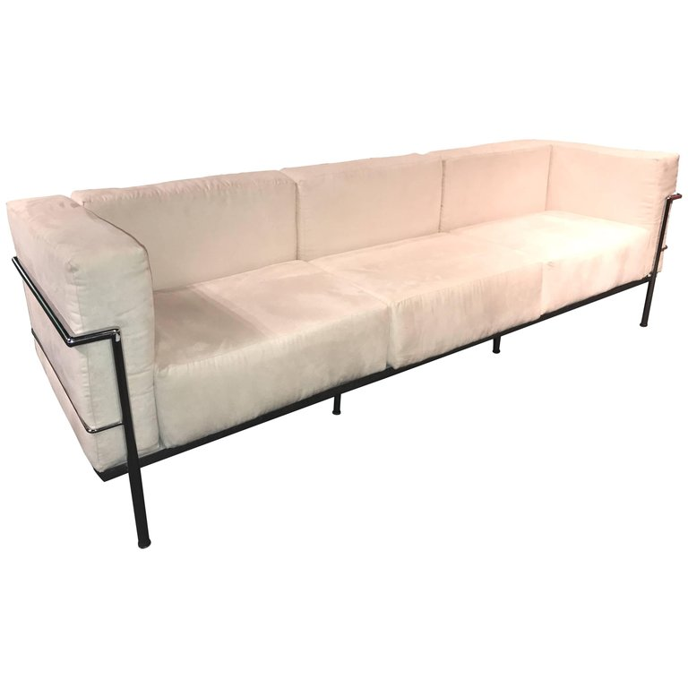 Le Corbusier Lc3 Style Modern Triple Seat Sofa In Suede And Chrome Modern Leather Sofa Le Corbusier Sofa