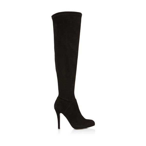 Black suede over the knee boot ($530) ❤ liked on Polyvore featuring shoes i boots