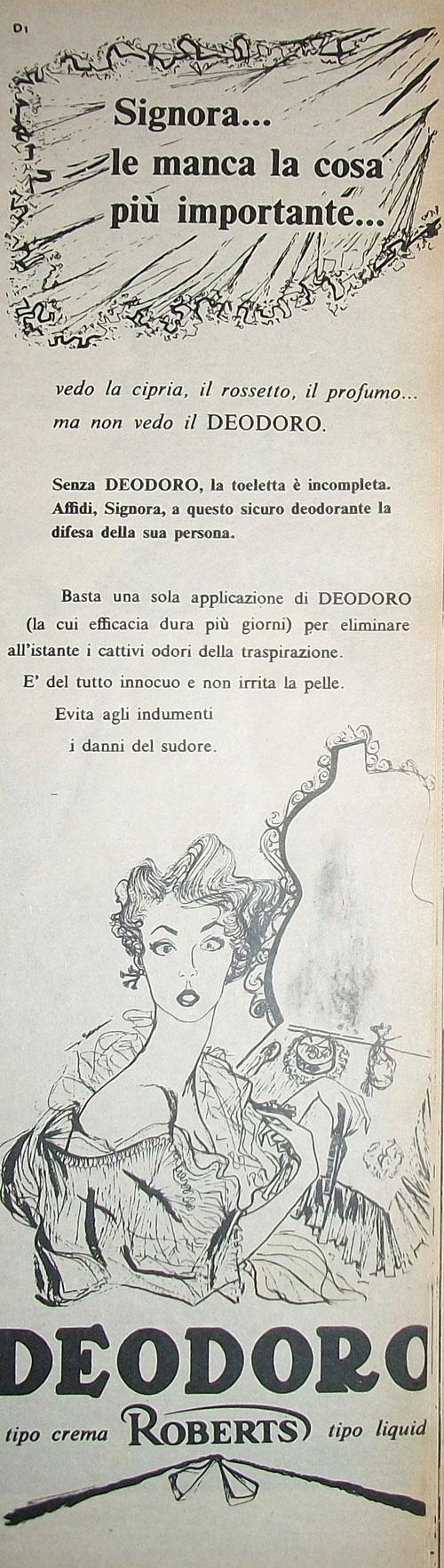 """www.piziarte.net La pubblicità negli anni 50 """"DEODORO"""" dalla rivista settimanale """"Il Tempo"""" 1954."""