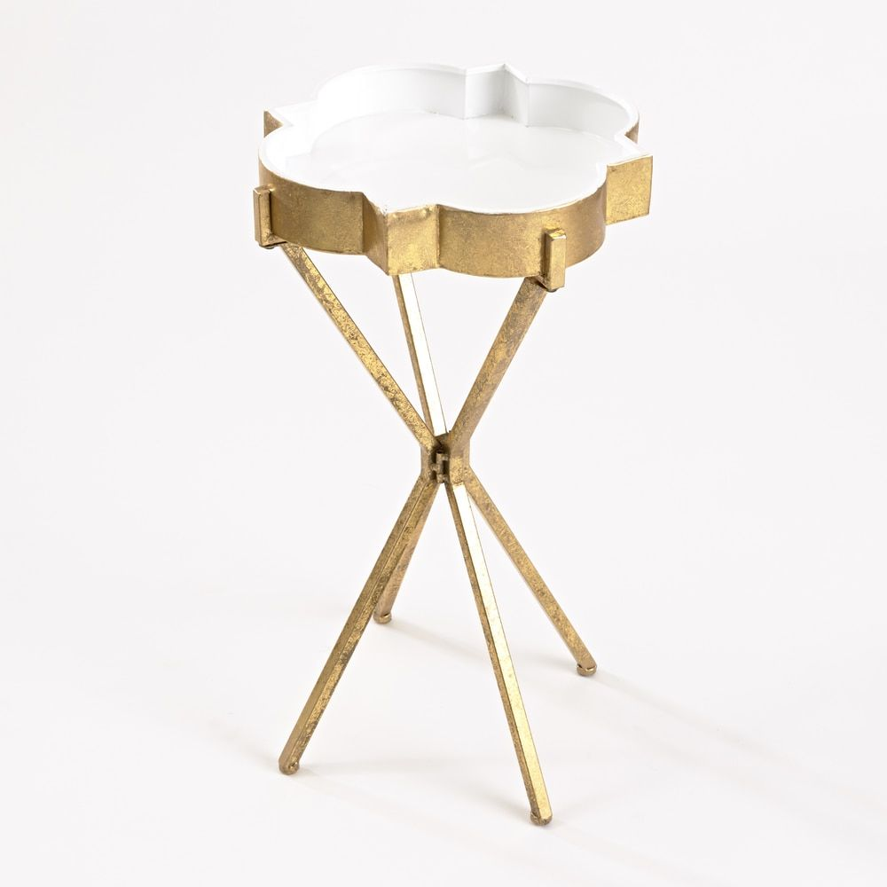 InnerSpace Quatrefoil Goldtone Tray Table (Quatrefoil Tray Table In Gold  With White Inlay Top)