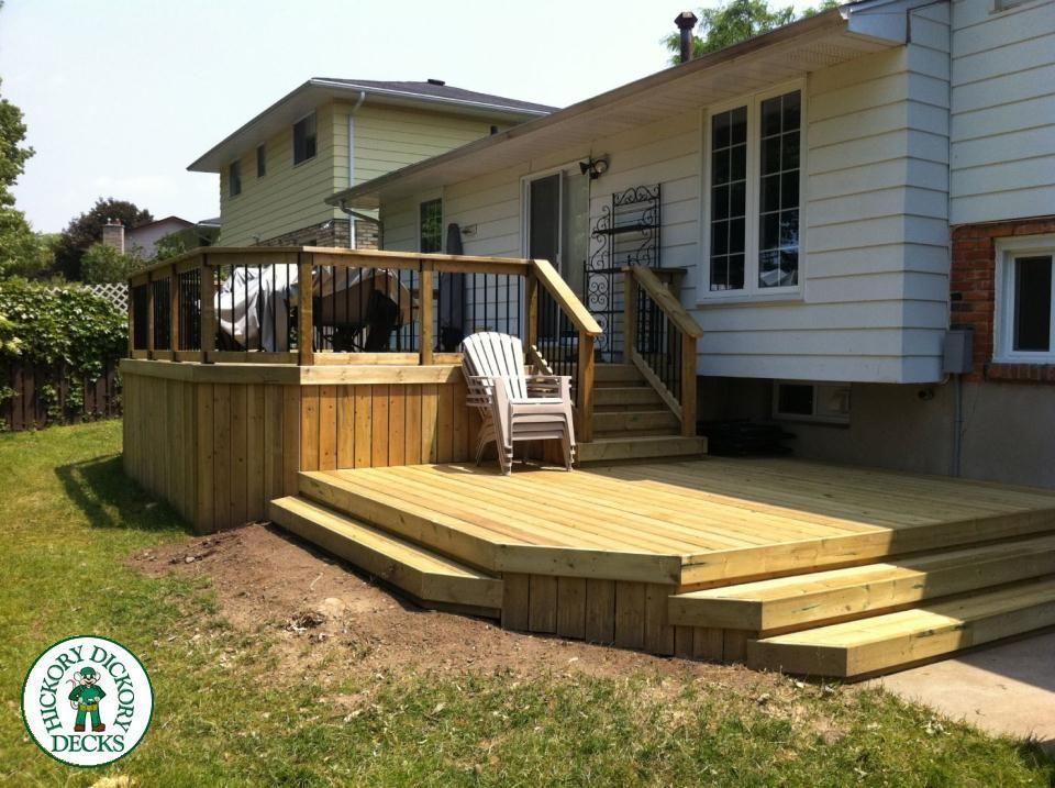 A Two Tier Pt Deck In London Patio Deck Designs Decks Backyard Deck Designs Backyard