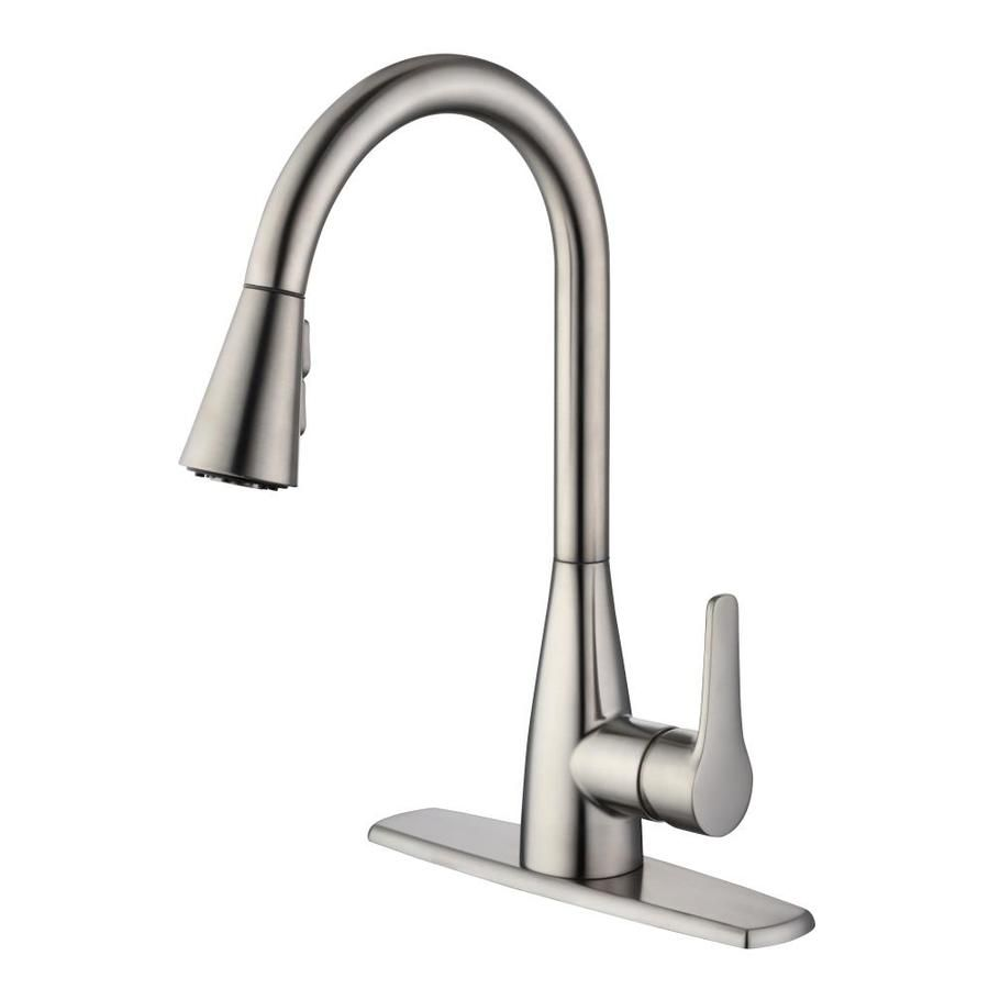 Project Source Stainless Steel 1 Handle Deck Mount Pull Down Residential Kitchen Faucet In 2020 Kitchen Faucet Widespread Kitchen Faucet Stainless Kitchen Faucet