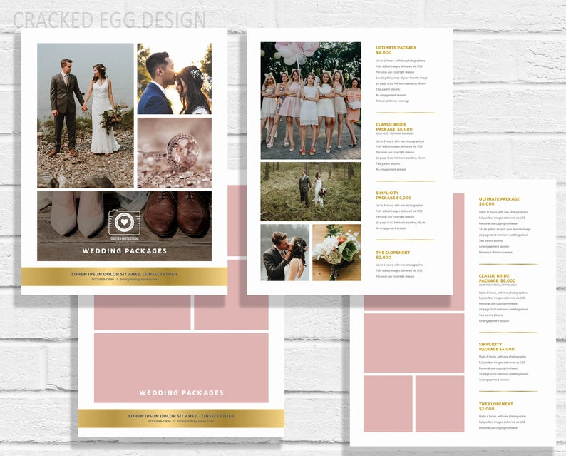 Wedding Pricing Guide, Price List, Template, Wedding