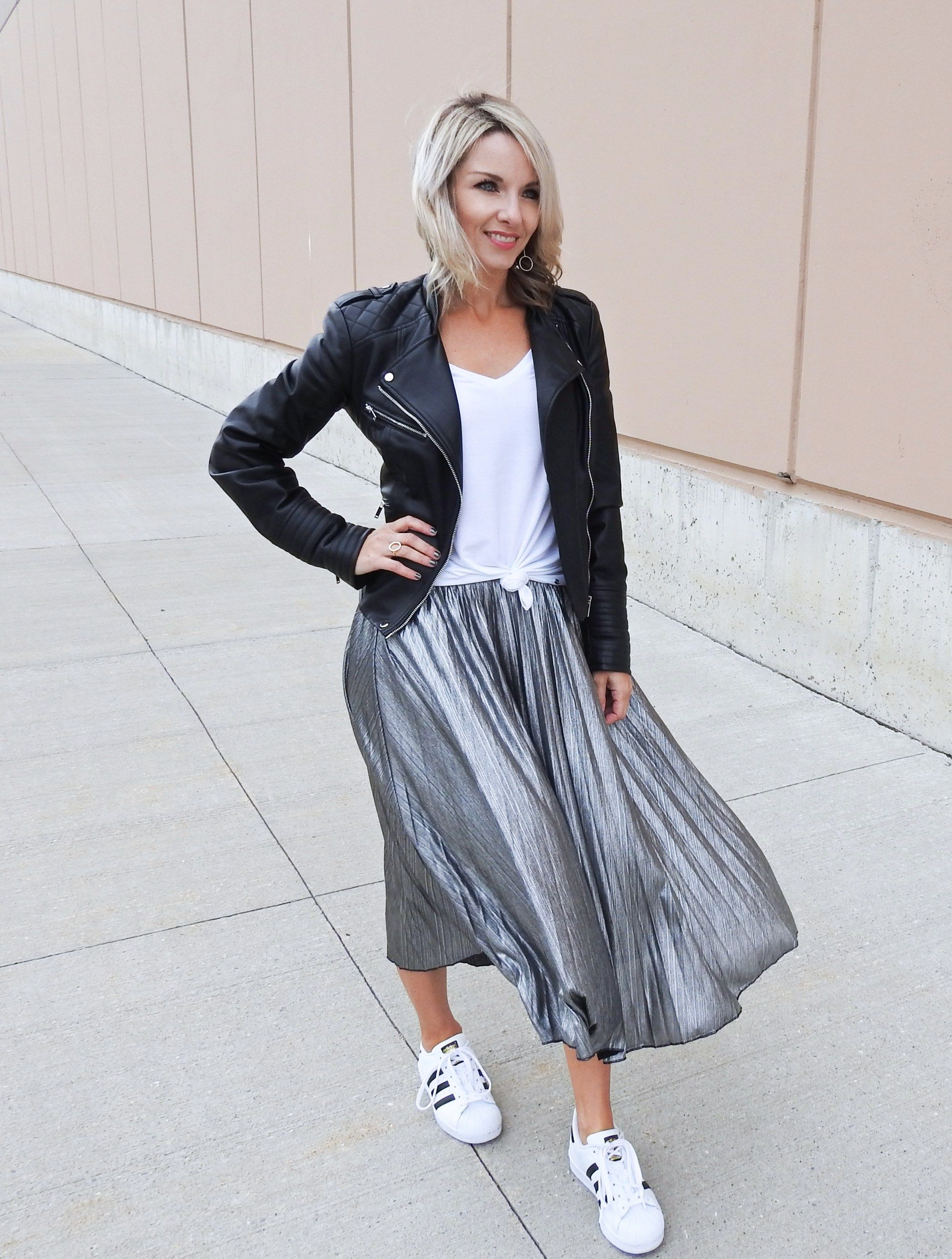 bd2e0ed55498 Black leather jacket moto, silver pleated midi skirt, black suede pumps,  Adidas superstars, white tee, tiaras and heels blog