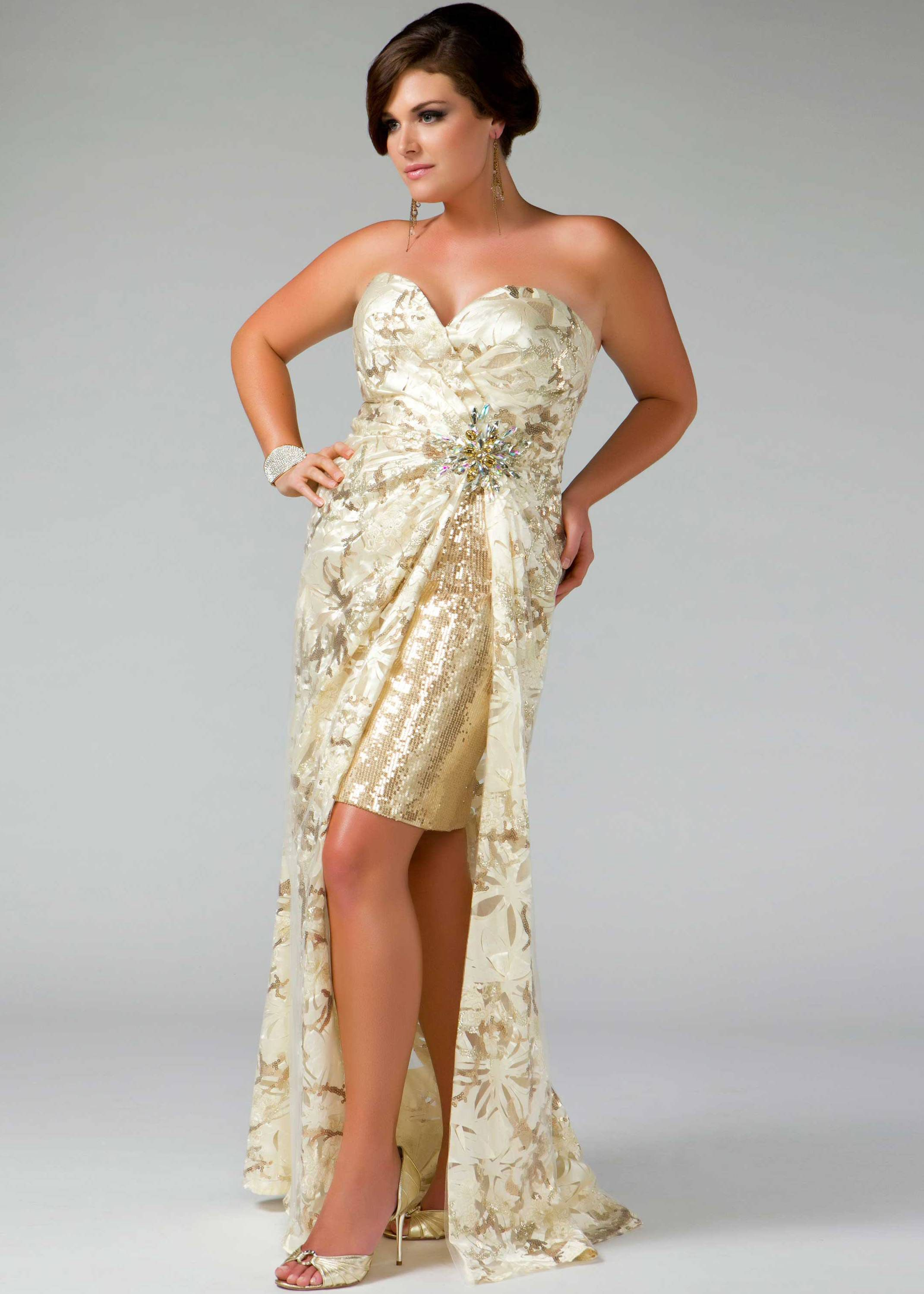 Free shipping on Fabulouss by Mac Duggal 42926F ivory gold strapless ...