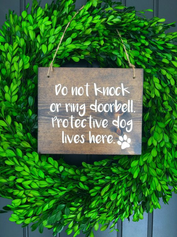 Protective Dog Door Sign Beware Of Dog Front Door Sign Rustic