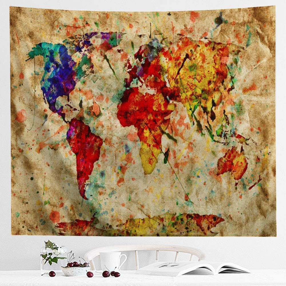 Icosamro World Map Tapestry Wall Hanging Colorful Watercolor