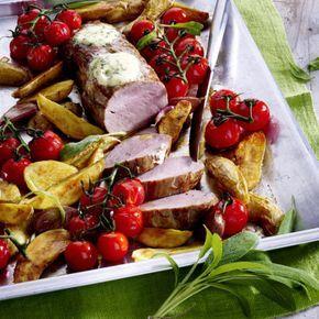 Schweinefilet aus dem Ofen mit Kartoffeln, Salbei und Kirschtomaten #kartoffelnofen