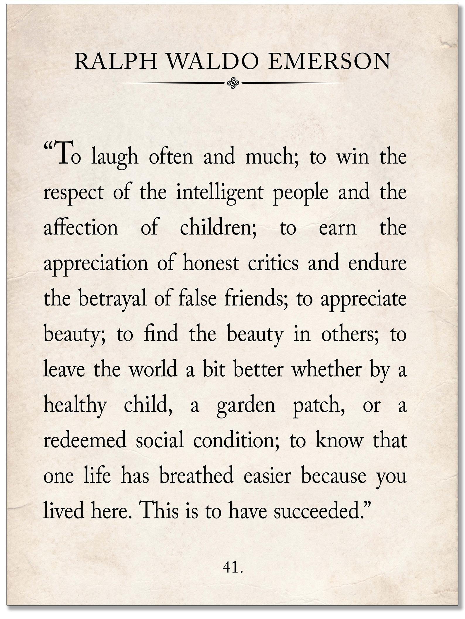 Ralph Waldo Emerson Vintage Book Page Literary Quo