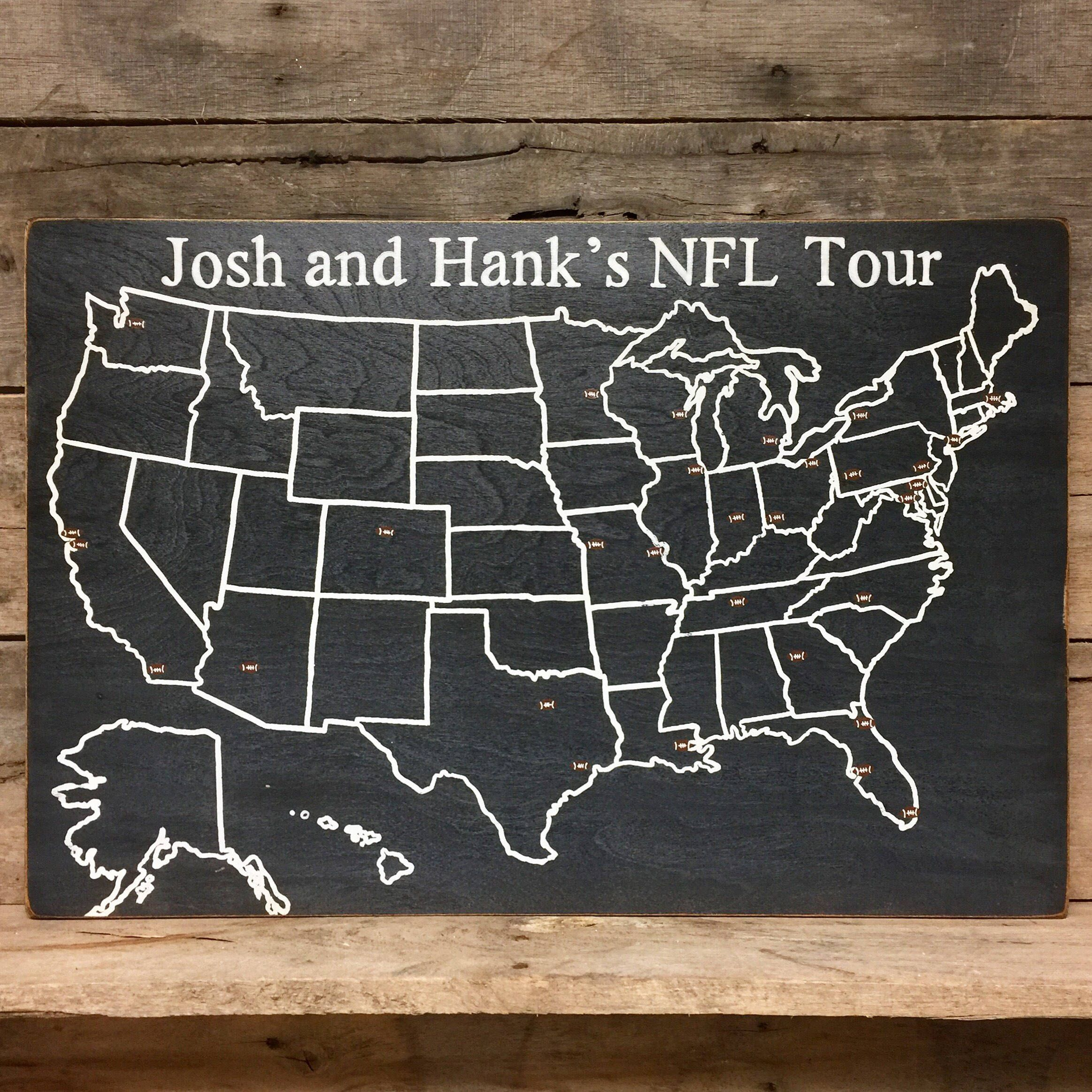 football stadium | US wood map | USA Travel Map | football fan gift ...
