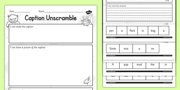Phase 2 Captions Sentence Unscramble – Unscramble Sentences Worksheets