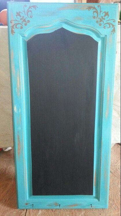 Turquoise Chalkboard Amp Key Holder Repurposed Cabinet Door