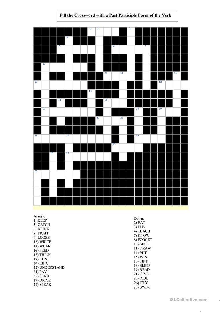 Irregular Past Participle Verbs Crossword Worksheet Free Esl Printable Worksheets Made By Teachers Irregular Verbs Crossword Verb [ 1079 x 763 Pixel ]