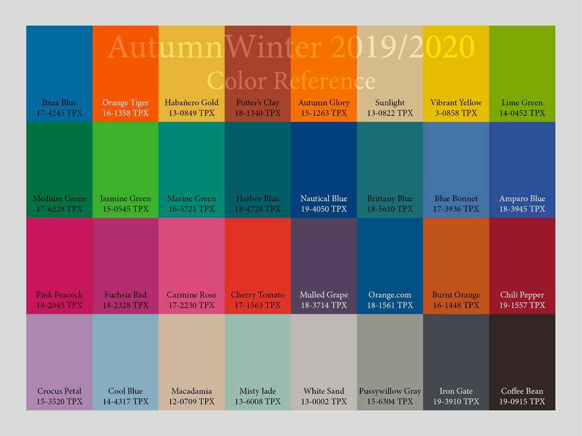Pantone Colors 2020.Aw2019 2020 Trend Forecasting On Pantone Canvas Gallery In