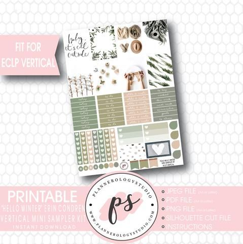 Hello Winter Mini Sampler Kit Printable Planner Stickers (for use with ECLP Vertical)