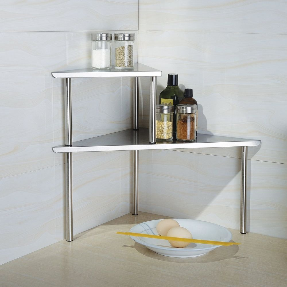 Counter Storage Shelf Organizer Solid Home Kitchen Shelves Rack 2 ...