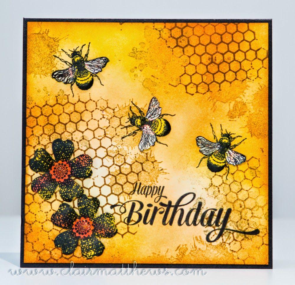 Bee Card Tim Holtz Distress Inks Wow Sexi-Hexi -5280