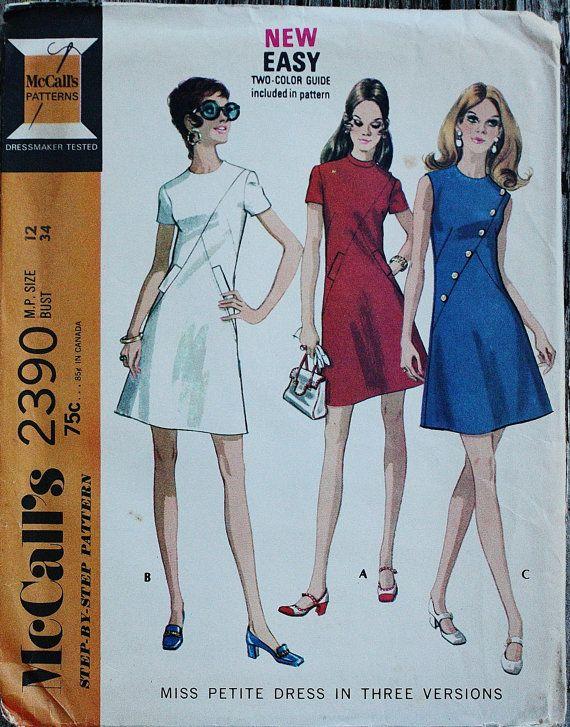 McCall 2390 1970s 70s Asymmetrical Mini Mod Dress Vintage Sewing ...