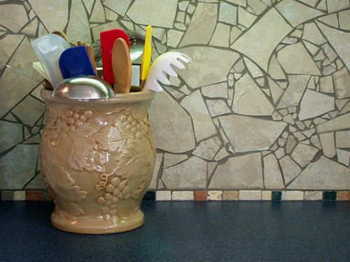 Broken Tile Backsplash By Anitajuneparker Via Flickr
