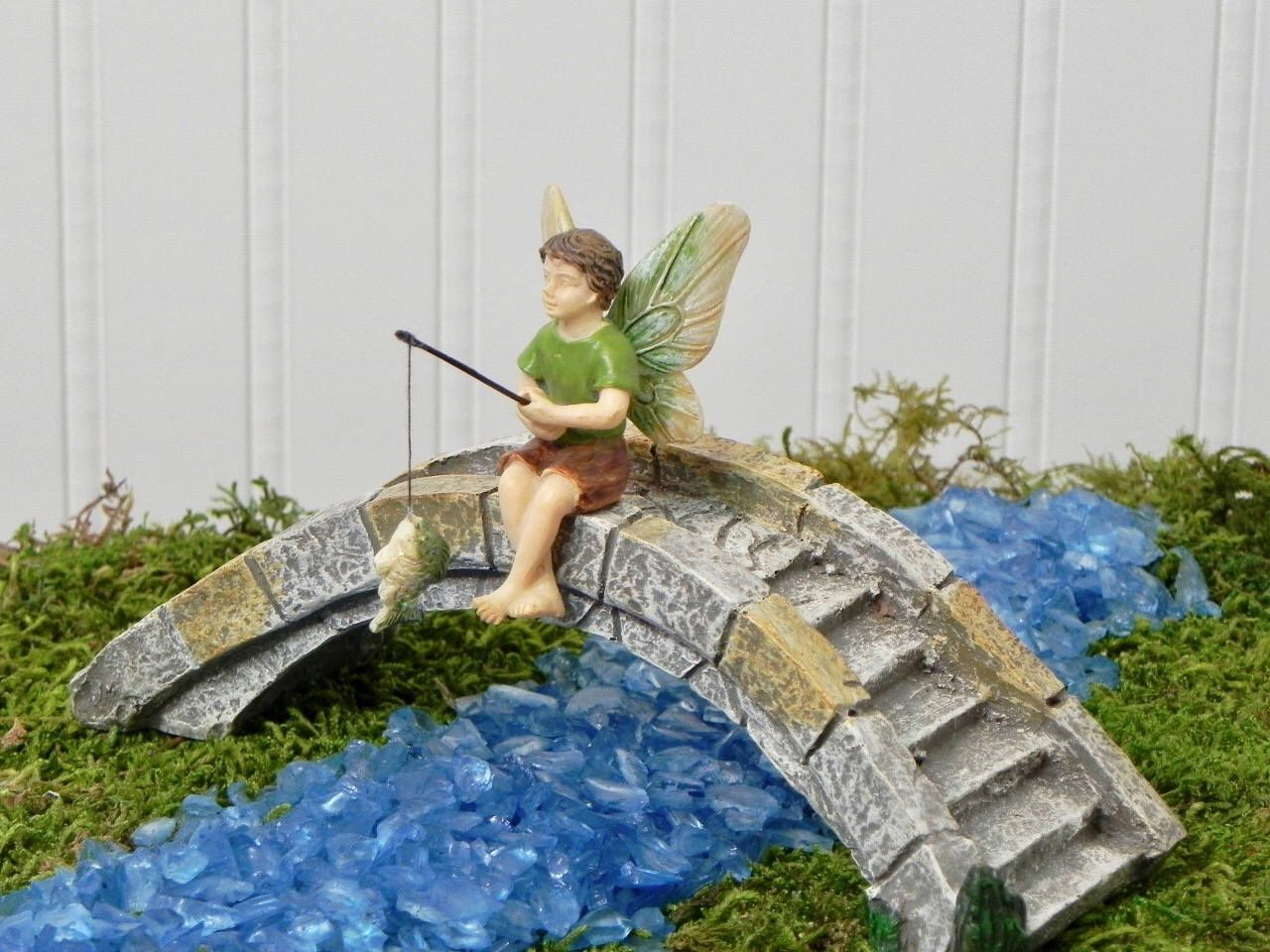 Fairy Garden Bridge, Fishing boy fairy, footbridge, garden