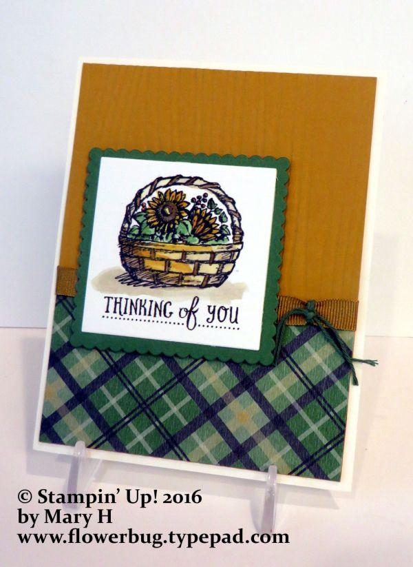 Here is Mary's pretty Basket card she made for our September Team swap. I love the colors she chose; Vanilla, Garden Green with Delightful Dijon. She used the Warmth & Cheer Designer paper stack as her color inspiration. It works so perfectly for this pretty fall card. She used Stampin' Up's watercolor paper for the main image. It's so much easier to get a beautiful and smooth coloring done. I love how she added the shadow under the basket with...