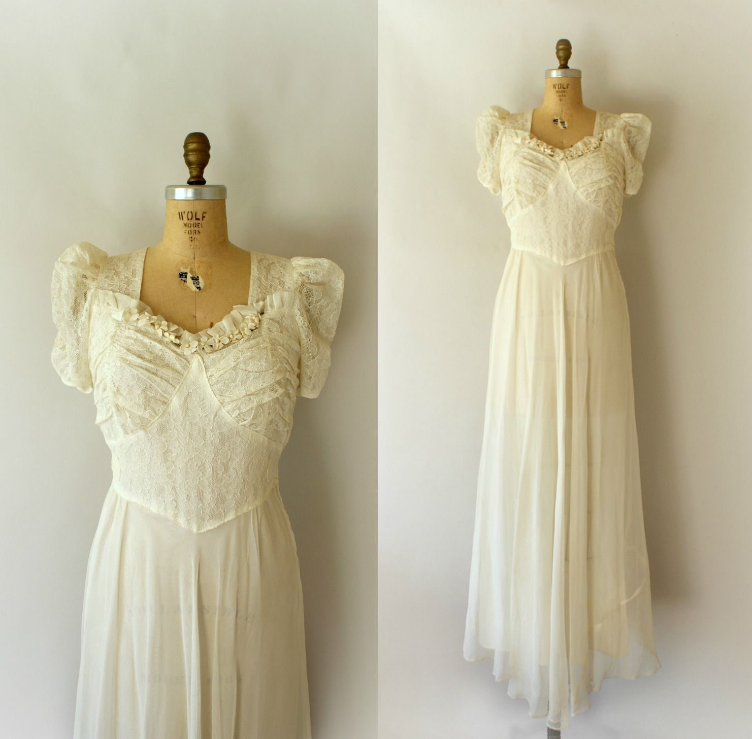 Vintage s lace and tulle wedding dress from sweet bee finds