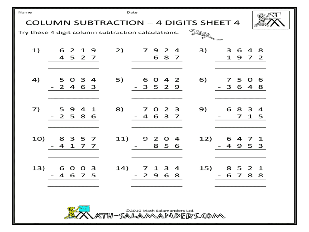 Subtracting 4 Digit Numbers Laptuoso