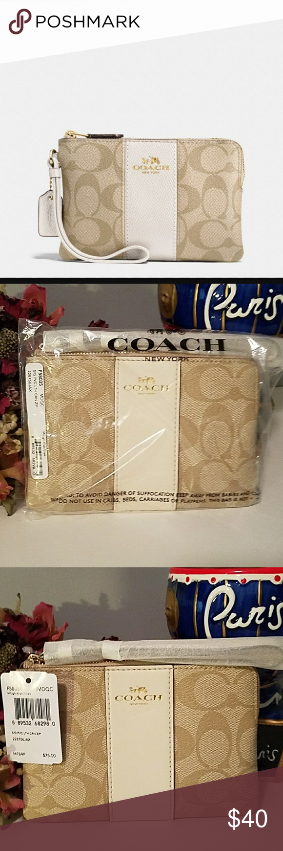 ae4cff4b4f1a AUTHENTIC COACH WRISTLET AUTHENTIC COACH CORNER ZIP WRISTLET TAN WITH OFF  WHITE LEATHER STRIPE THIS IS