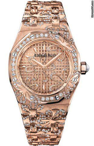 Audemars Piguet Royal Oak Floral Diamond 18 Kt Rose Gold Ladies