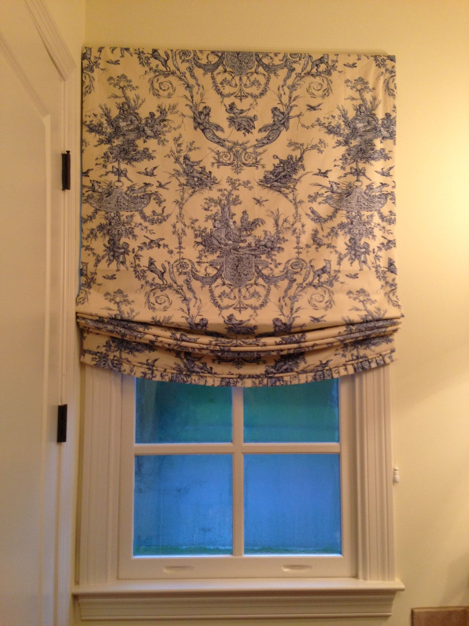 Diy Roman Shades For French Doors Relaxed Roman Shade With Short Pleated Ruffle Window