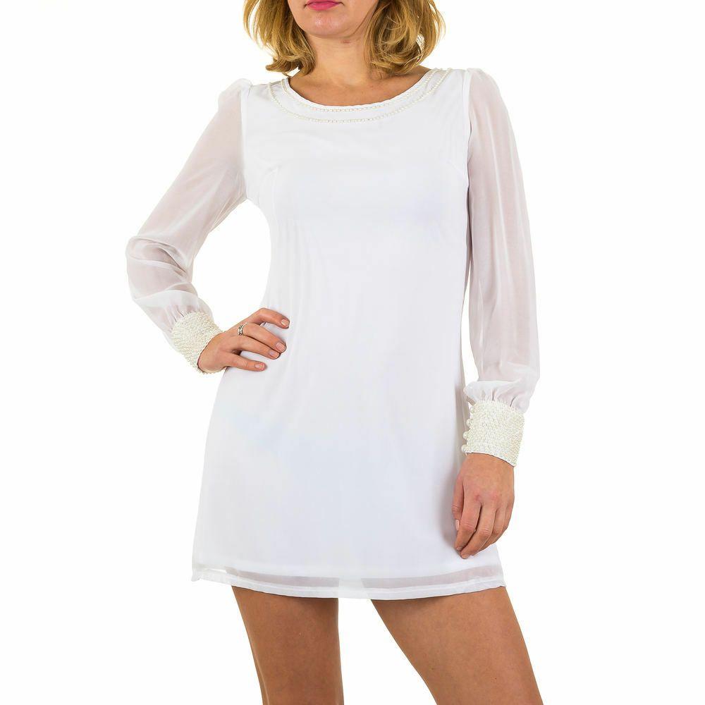 details zu kurzes chiffon damen kleid 40 weiß 9185 | kleid