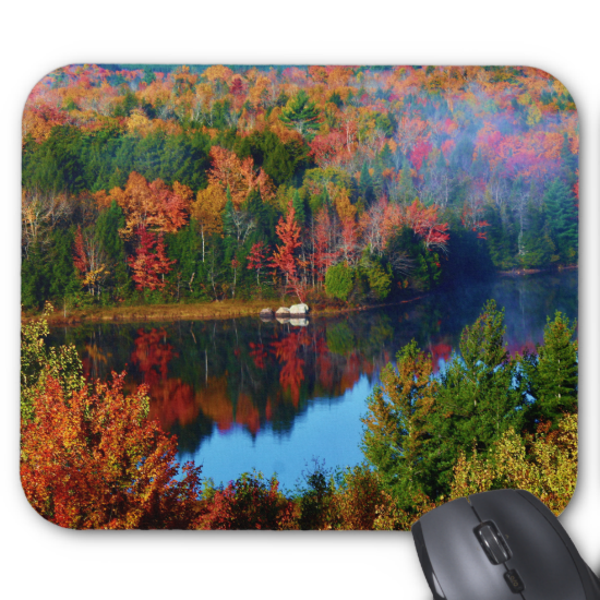 Mt. Katahdin Surrounding Autumn Scenery II Standard Mouse Pads by KJacksonPhotography --  Taken 10.12.2014 Salmon Stream Lake surrounded by the colorful canopy of autumn leaves of the forest just below Mt. Katahdin - brilliant dazzling reds,oranges and golds. The lake beautifully reflects the kaleidoscope of colors of this fall's vivid hues. From the I95 scenic turnout, mile marker 252 in Maine.PC:244.285