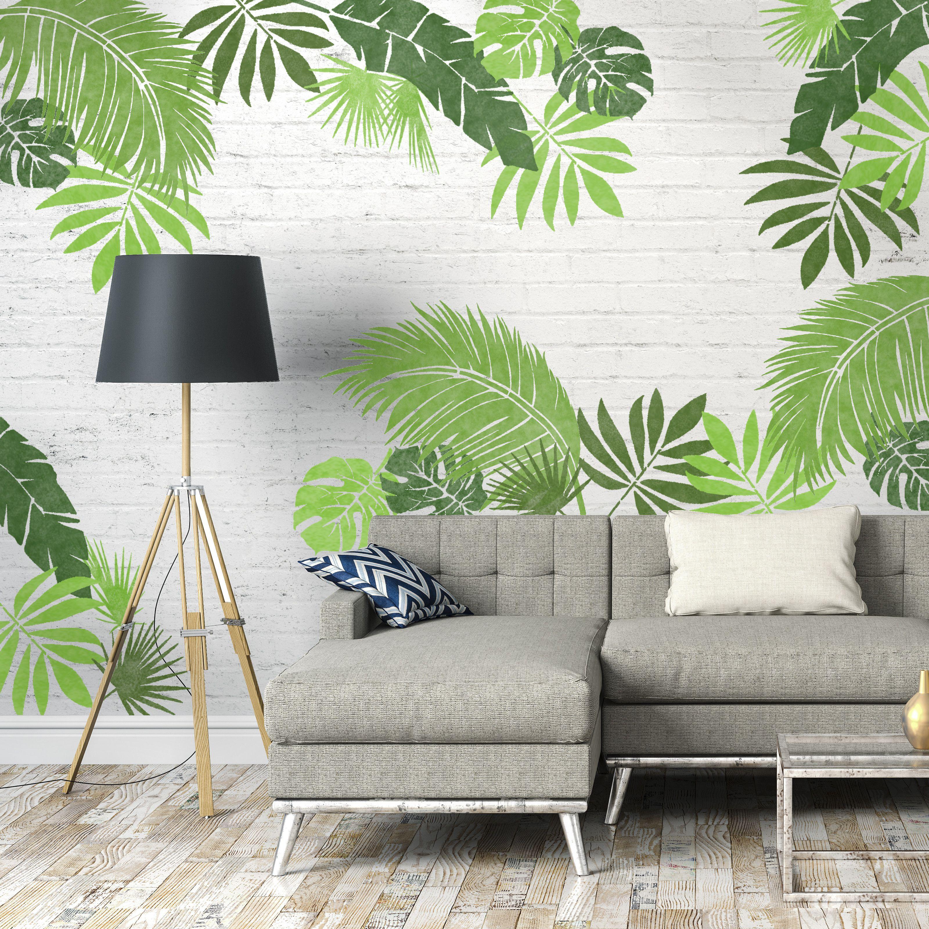 Jungle Leaf Stencils Set Of 6 Beautiful Houses Interior Leaf Stencil Decor