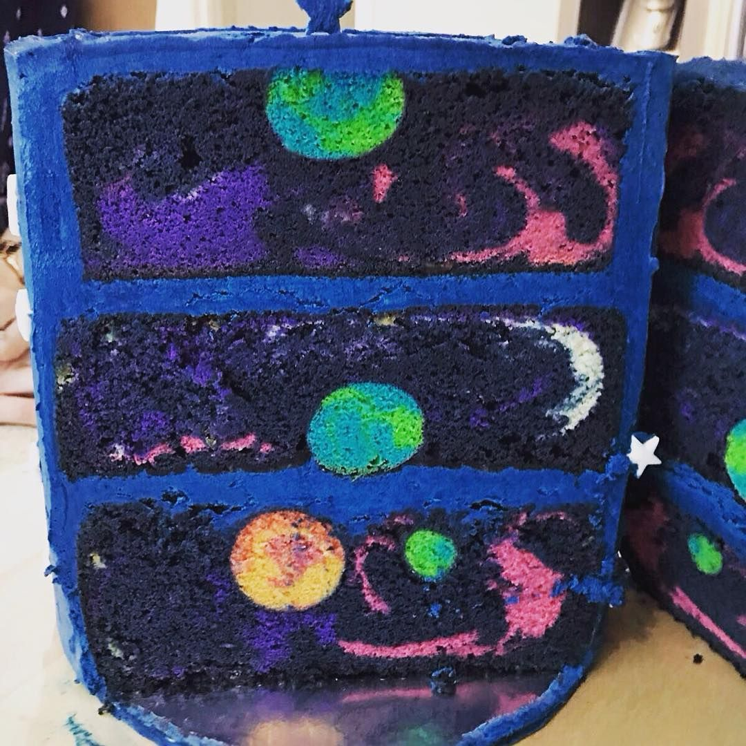Incredible Space Cake Featuring a Beautiful Hidden Galaxy Inside That Is Revealed Once It is Sliced