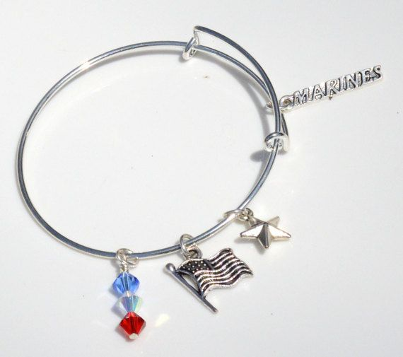 Alex And Ani Inspired Adjule Military Army Navy Marine Honor Charm Bracelet