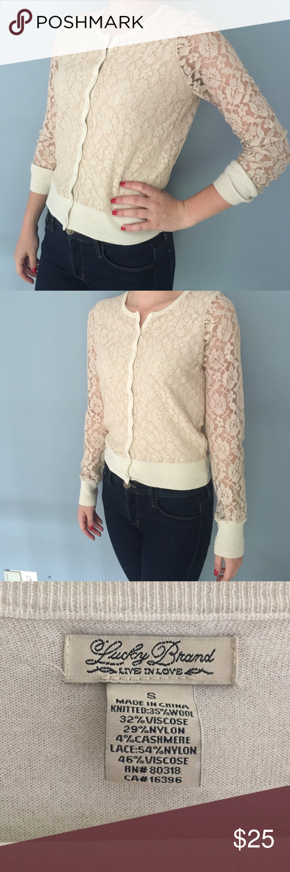Lucky Brand lace Cardigan Sweater