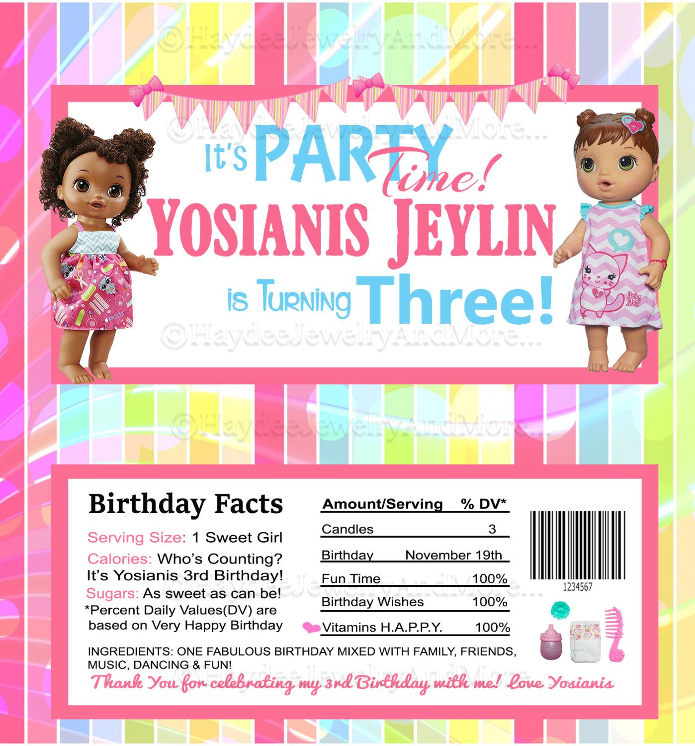 Baby Alive Birthday Theme Hershey Bar Wrappers Birthday Girl Favors Printable File Only Baby Alive Birthday Theme Birthday Invitations Girl
