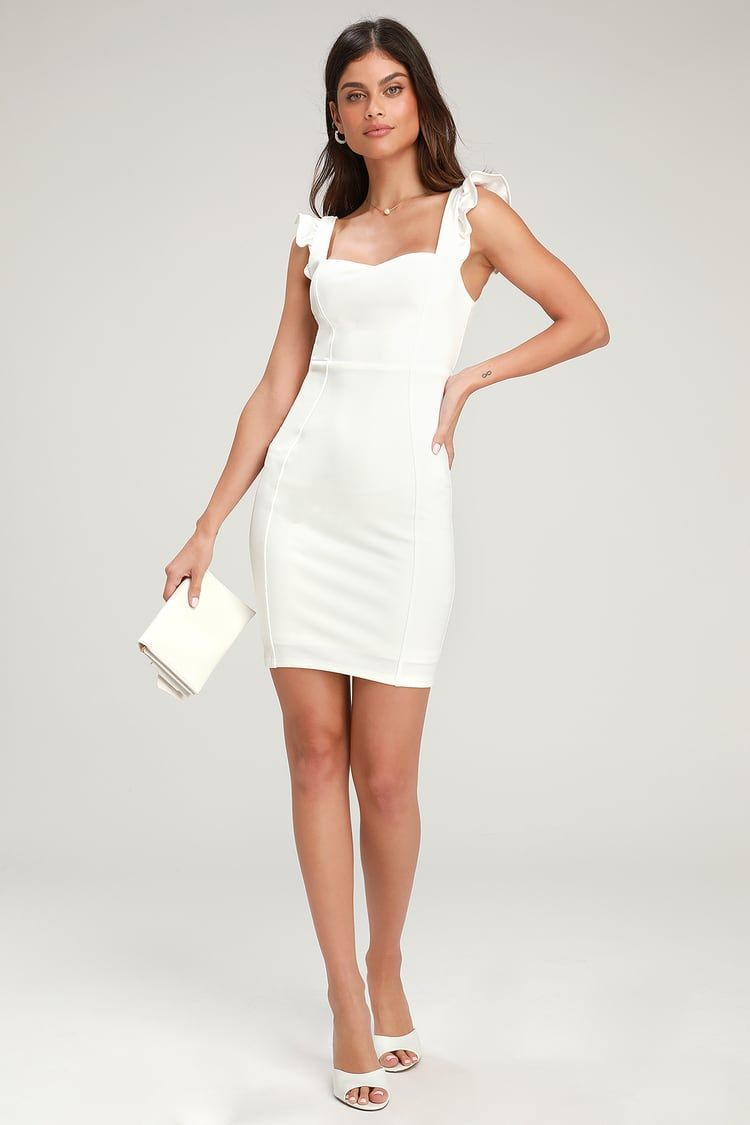 Miriam White Ruffled Bodycon Dress Ruffle Bodycon Ruffle Bodycon Dress White Bandage Dress [ 1125 x 750 Pixel ]