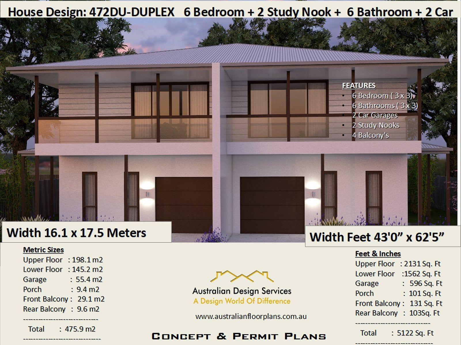 475 M2 Or 5122 Sq Foot 6 Bedrooms Townhouse Design 6 Bedrooms Duplex Plans 6 Bedroom Duplex Modern Duplex Dua In 2020 Duplex Plans Townhouse Designs Duplex Design