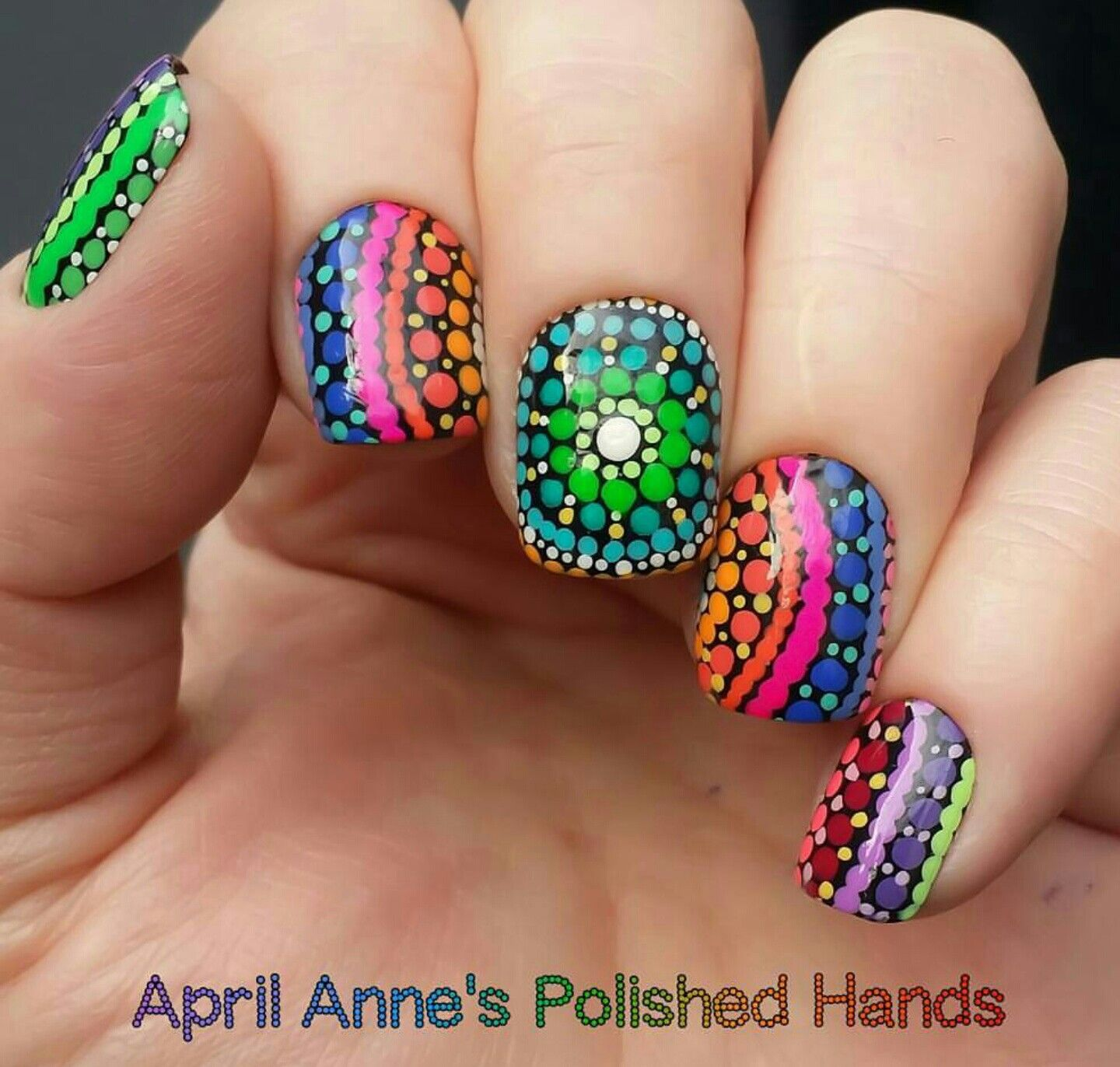 Colorful Mandala Dots Nail Art, #dotticure, insisted by the art of ...