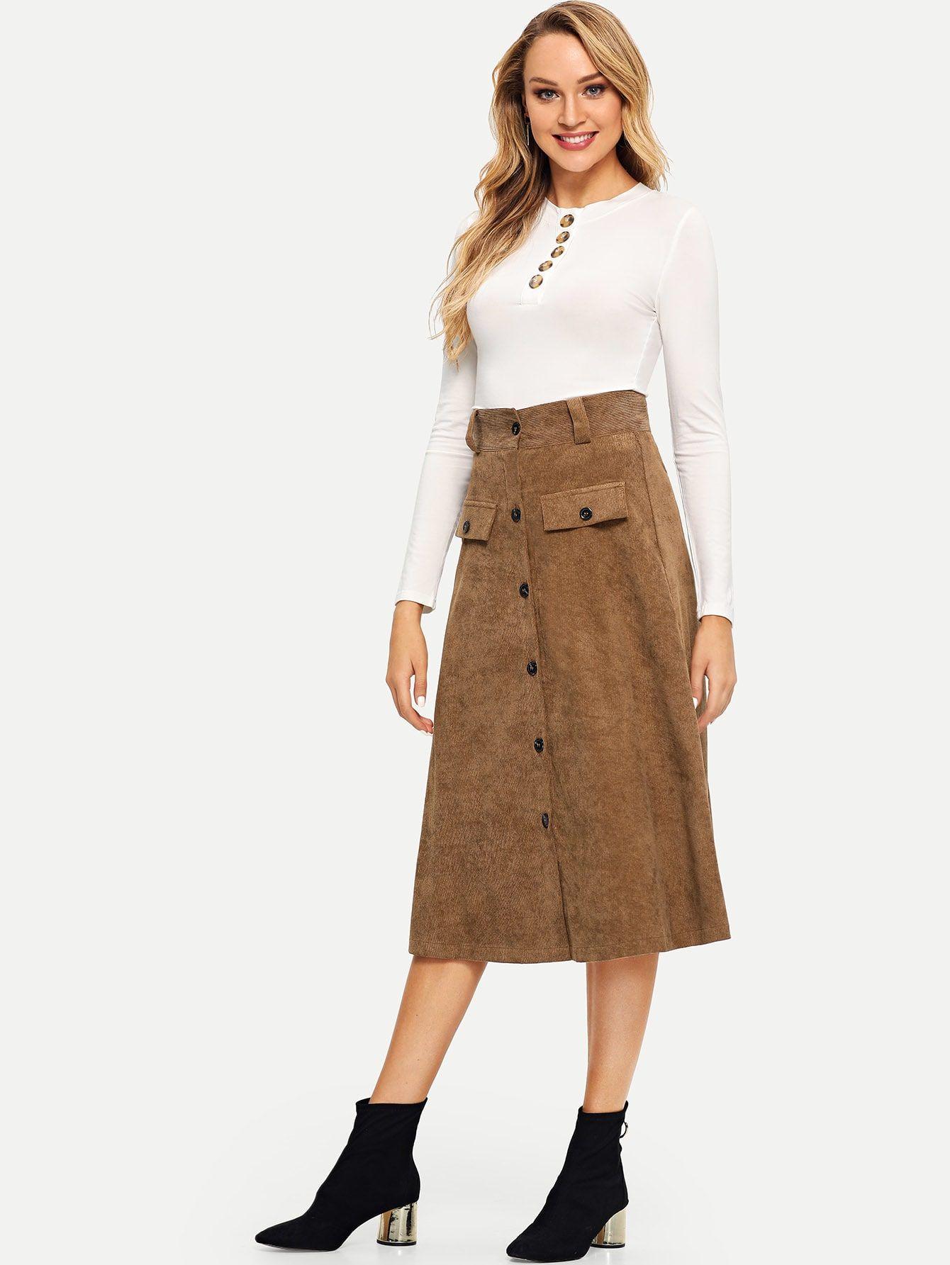 40c248f390fe Casual A Line Button Plain Mid Waist Khaki Knee Length Single Breasted A-line  Corduroy Skirt