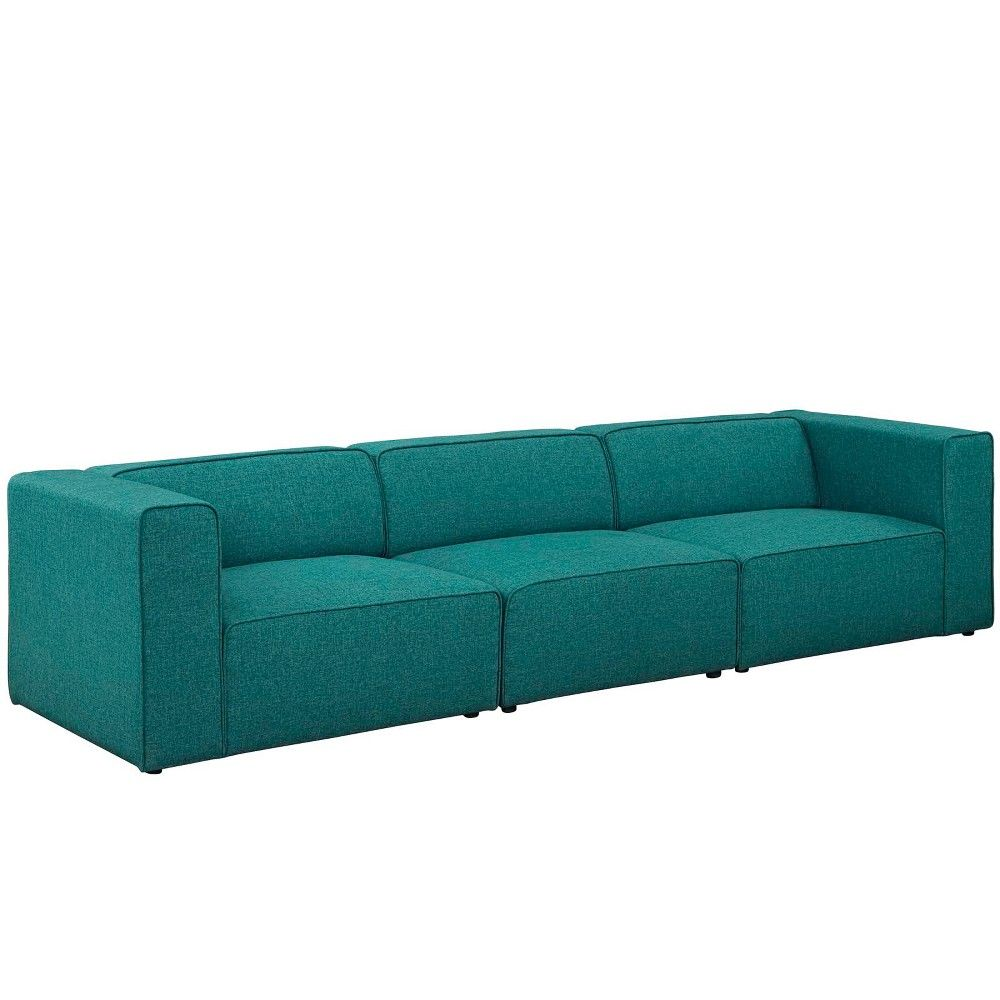 Best Mingle 3Pc Upholstered Fabric Sectional Sofa Set Teal 640 x 480