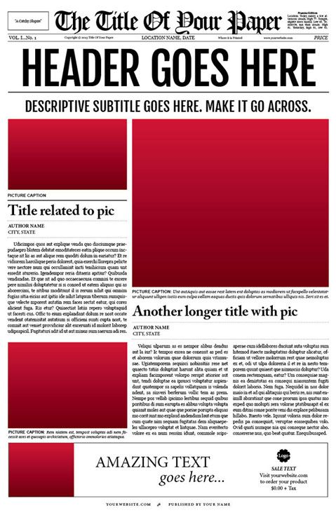 Newspaper Template For Adobe InDesign CS6 cakepins - newspaper templates for kids
