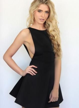 Black V Back Skater Dress,  Dress, black  backless  skater dress  sleeveless, Chic #cute #love #blackdress www.UsTrendy.com