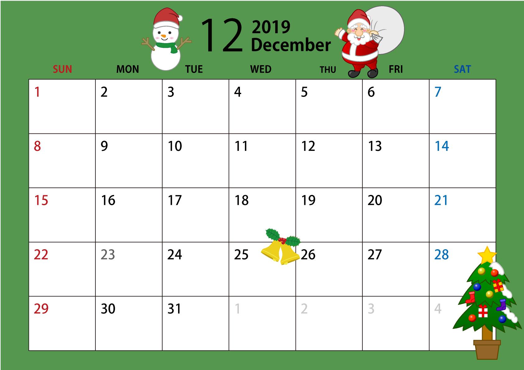 2019年12月カレンダーのフリーダウンロード画像 Ii 12月カレンダー カレンダー カレンダー シンプル