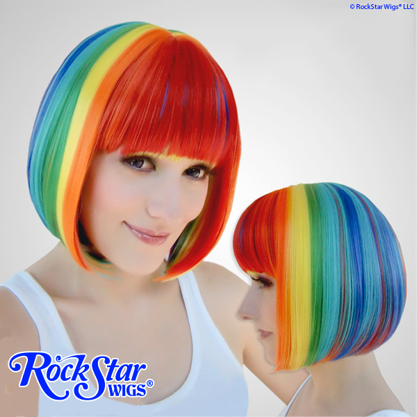Rainbow ロリータのかつら pelucas perruques コスプレ womens ladies wigs cosplay stage doll show ゴシック ロリータ かつら mix colorful Short bob straight