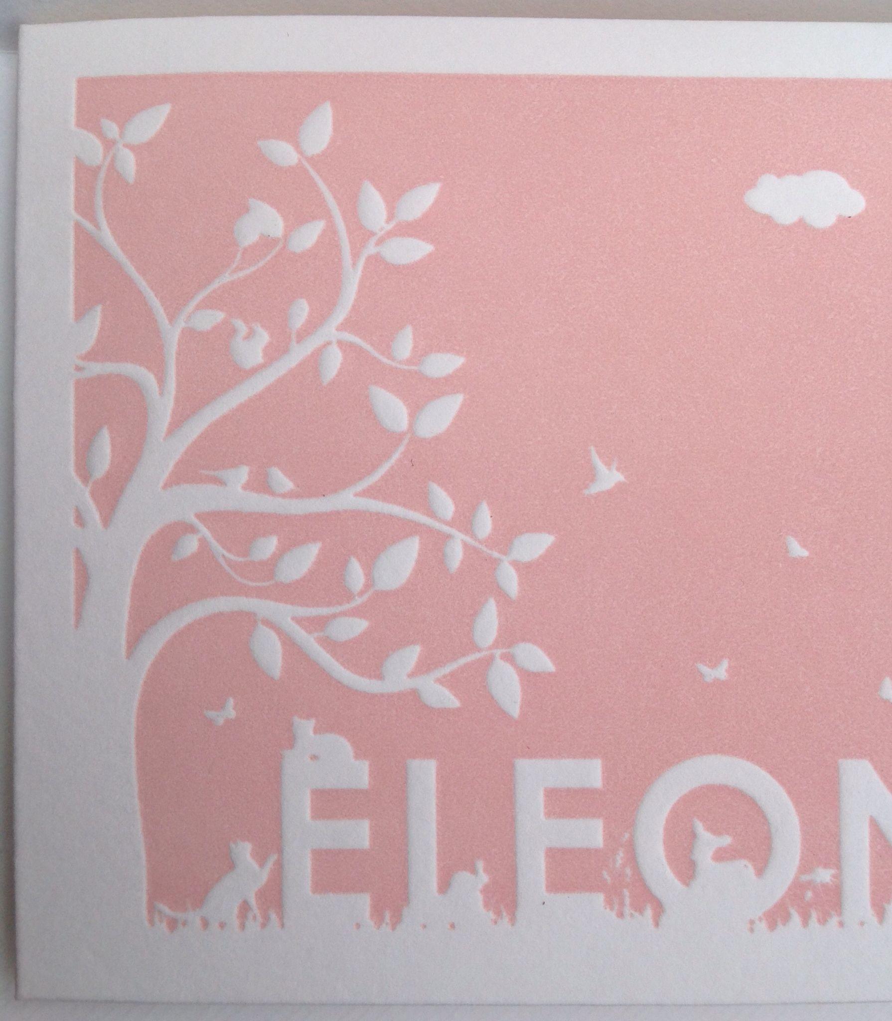 geboortekaartenonline.nl # letterpress # roze # pink # reliëf druk