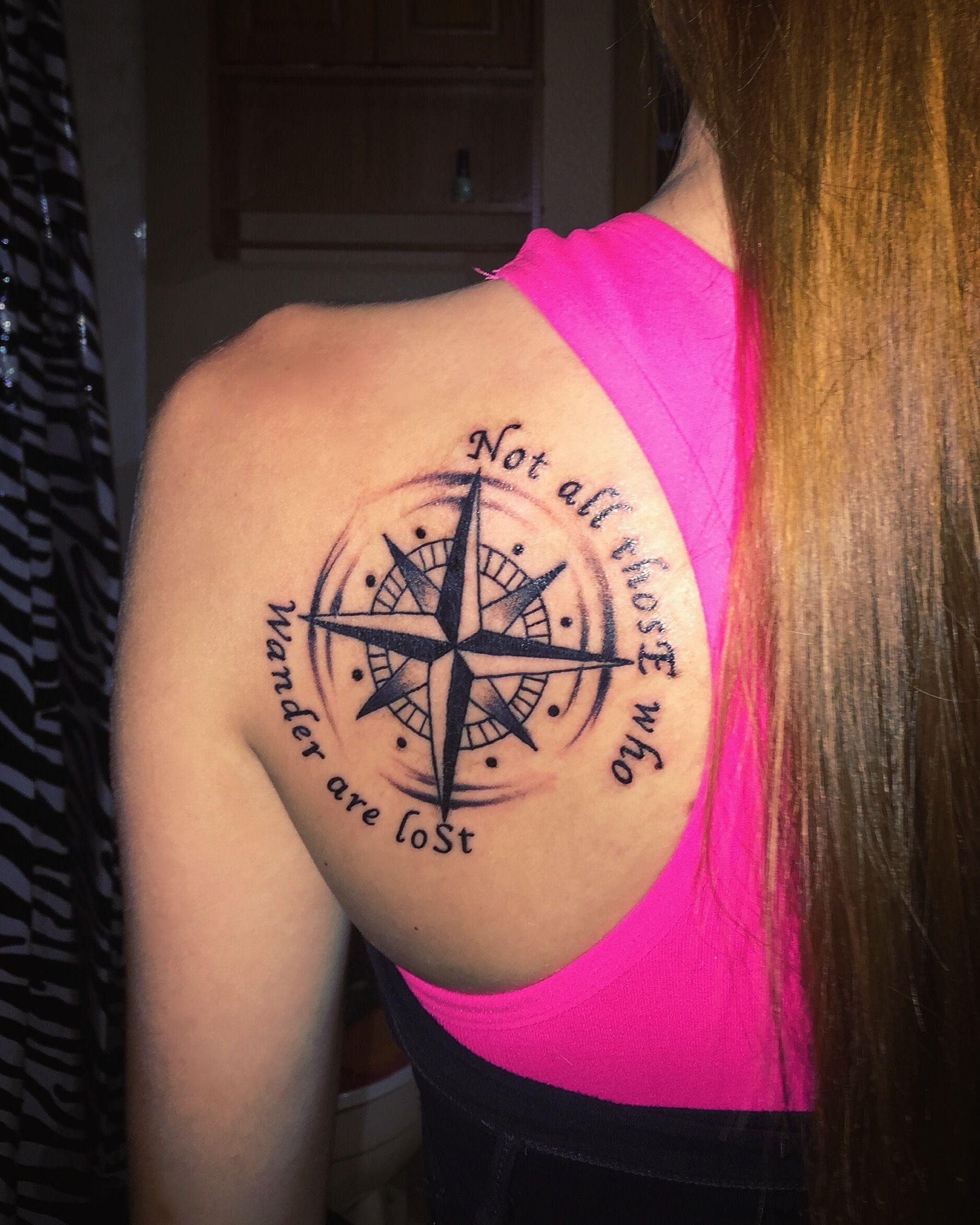Compass tattoo not all those who wander are lost for All in one tattoo