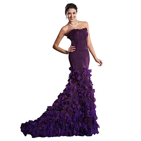Purple Strapless Petal Embellished Mermaid Prom Dress With Train