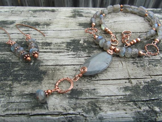 Labradorite and Copper Necklace & Earring by PeaceofNatureJewelry, $55.00